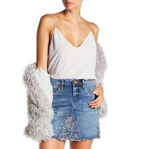 Blank NYC Stud Blue Denim Mini Skirt